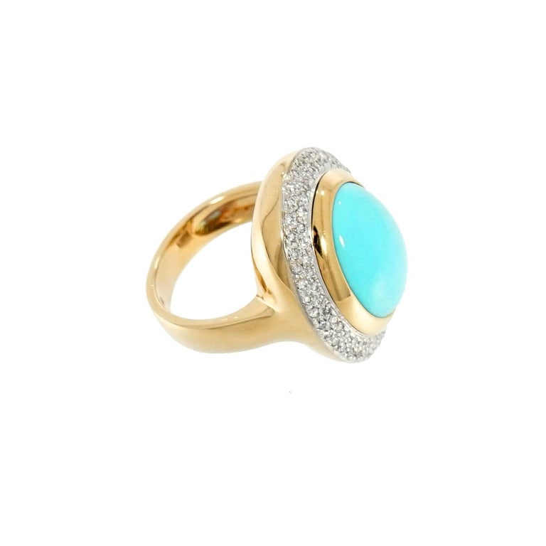 Women's Oval Cabochon Turquoise and Diamond Yellow Gold Cocktail Ring For Sale