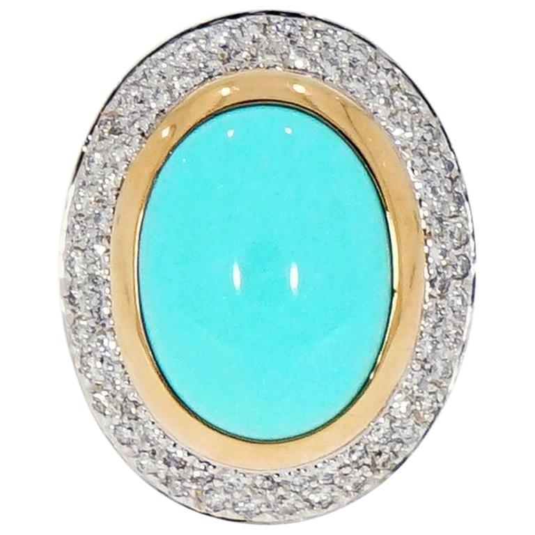 Oval Cabochon Turquoise and Diamond Yellow Gold Cocktail Ring For Sale