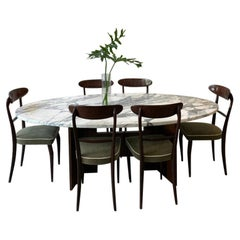 Oval Calacatta Marble Top Dining Table with Mahogany Base