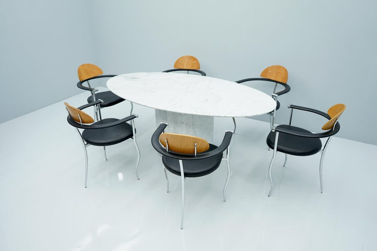 White Oval Carrara Marble Dining Table, 1970s For Sale 5