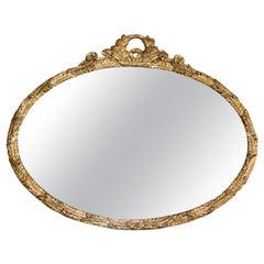 Oval Carved Vine Gilt Wood Mirror
