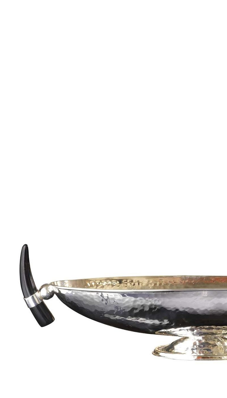 Italian Oval Centrepiece with Horn Handles For Sale
