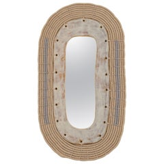 Oval Ceramic and Woven Cotton Mirror in Natural and Gray
