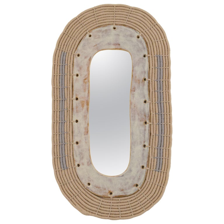 Oval Ceramic and Woven Cotton Mirror in Natural and Gray For Sale
