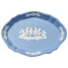 Oval Ceramic Jasper Vide Poche Ring Dish in Wedgwood Blue, England