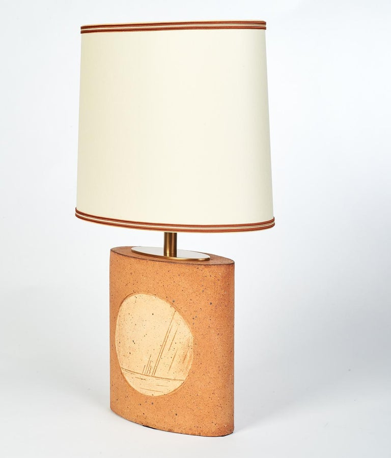 French Oval Ceramic Lamp with Incised Geometric Motif, France, 1970s For Sale