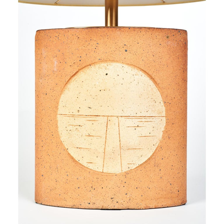 Oval Ceramic Lamp with Incised Geometric Motif, France, 1970s For Sale 1