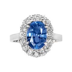 Oval Ceylon 3.65ct Sapphire Diamond Cluster Ring