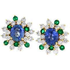Oval Ceylon Blue Round Green Sapphires Diamond 18K Yellow Gold Stud Earrings