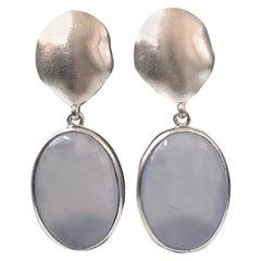 Oval Cabochon Chalcedony Drop Sterling Silver Earrings