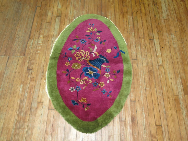Hand-Painted Oval Chinese Art Deco For Sale