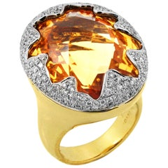 Oval Citrine 18 Karat Yellow Gold and Diamond Large Cocktail Ring