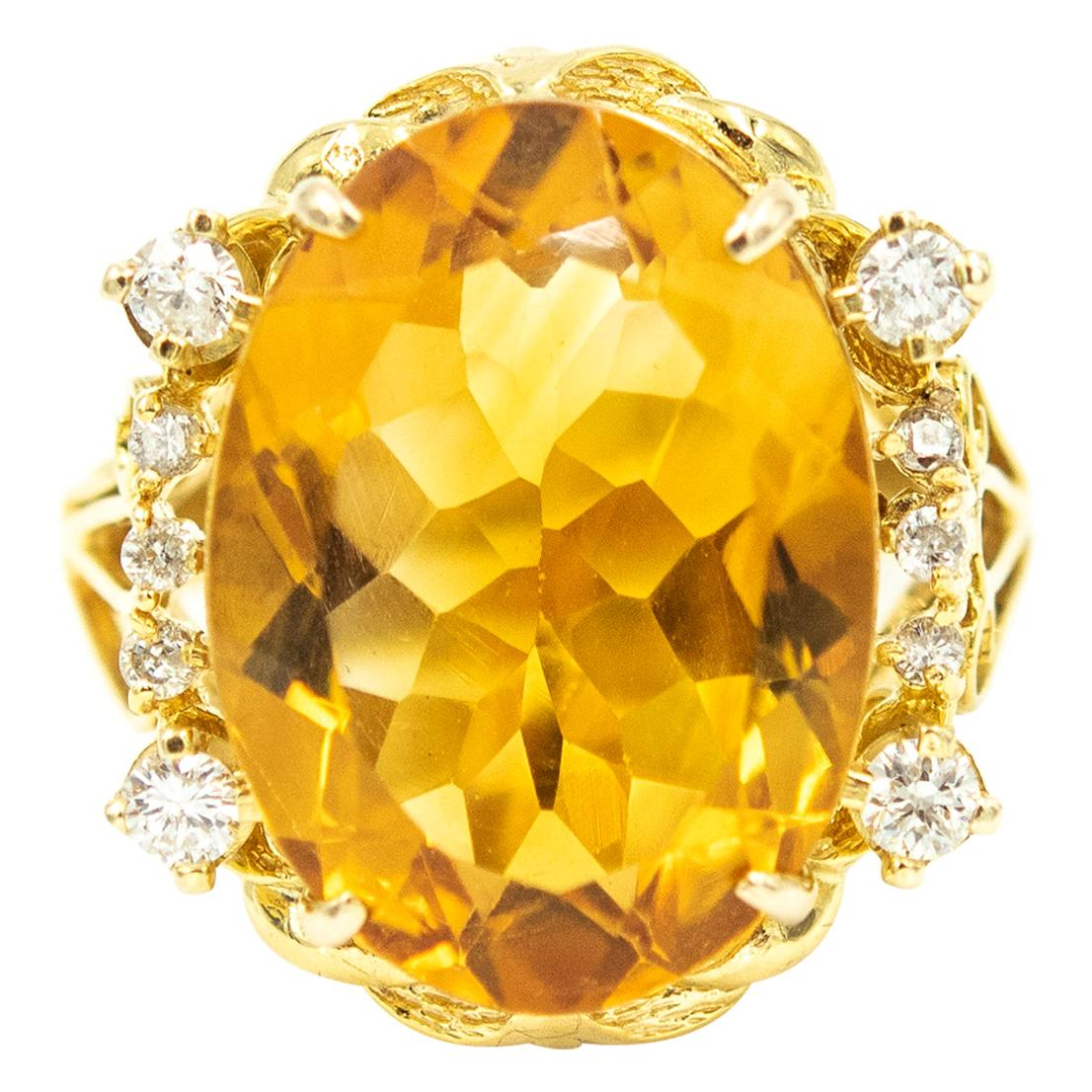 Oval Citrine and Diamond Yellow Gold Cocktail Ring