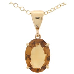 Oval Citrine Pendant Set in 9k Yellow Gold