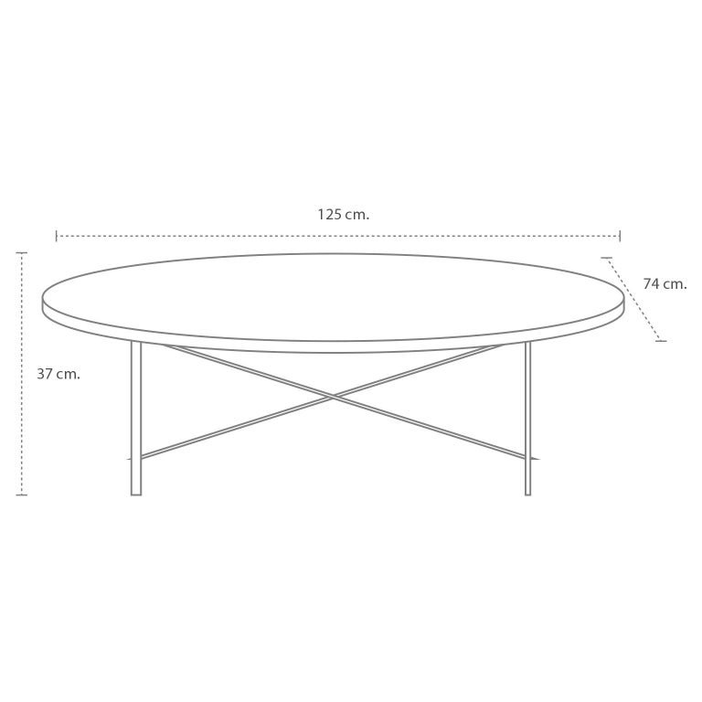 Brass Oval Coffee Table by Arturo Pani For Sale