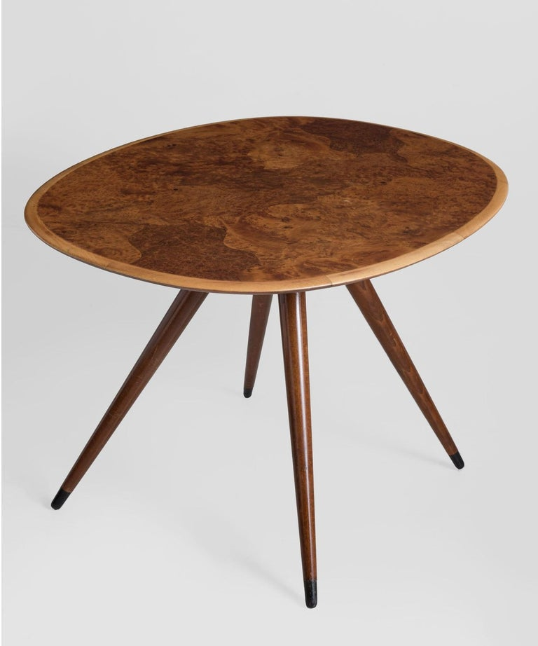 Oval coffee table by David Rosen, Denmark, circa 1960, modern low table from burr wood.