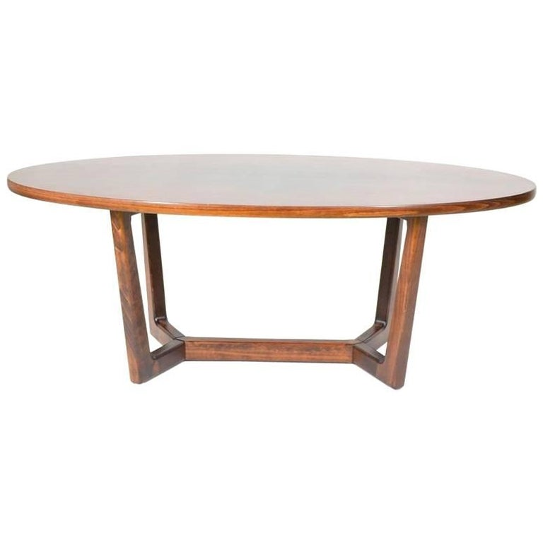 Oval Coffee Table From Dřevotvar Holešov, 1980s For Sale