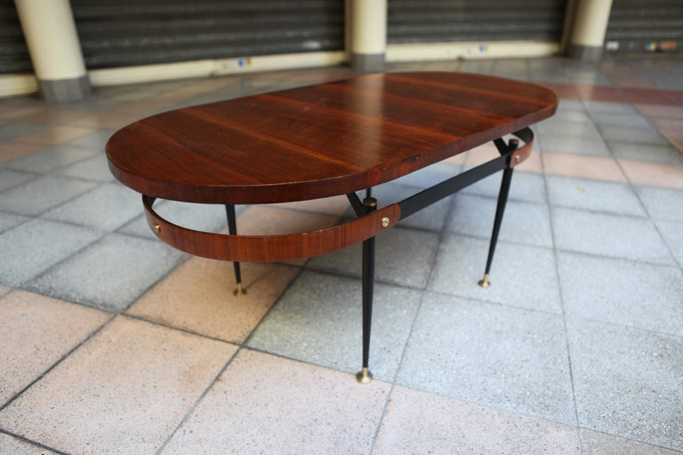 Wood Oval Coffee Table Gio Ponti For Sale