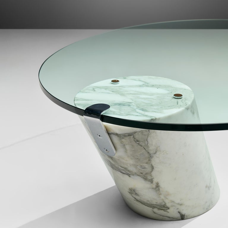 Swiss Oval Coffee Table in Carrara Marble and Glass For Sale