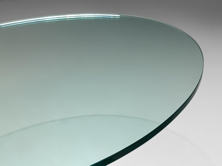 Late 20th Century Oval Coffee Table in Carrara Marble and Glass For Sale