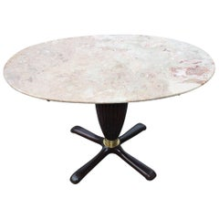 Oval Coffee Table in Midcentury Italian Design Mahogany Brass 1950 Marble Top