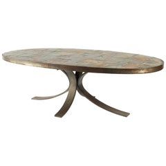 Oval Coffee Table in Wrought Iron and Stone from the Ardoise Mid-Century Modern