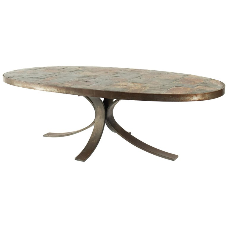 Oval Coffee Table In Wrought Iron And Stone From The Ardoise Mid