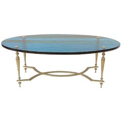 Oval Coffee Table with Blue Glass Top