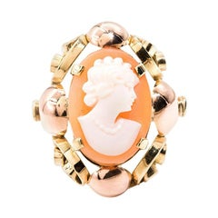 Oval Conch Shell Cameo 14 Carat Rose and Yellow Gold Vintage Ring