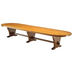 Oval Conference Table with Veneerd Walnut