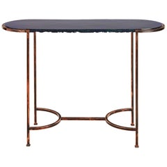 Oval Console with Blue Art Glass Top and Patined Copper Legs, Available Now