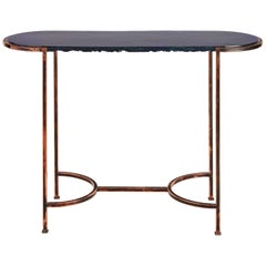 Oval Console with Blue Art Glass Top and Patined Copper Legs, Customizable