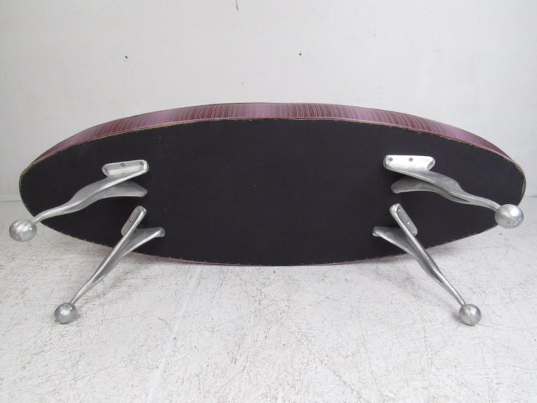 Oval Contemporary Modern Upholstered Bench For Sale 2