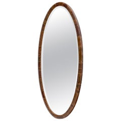 Oval Copper Patched Wooden Frame Wall Mirror