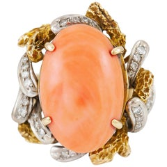 Oval Coral Cocktail Ring with Diamonds