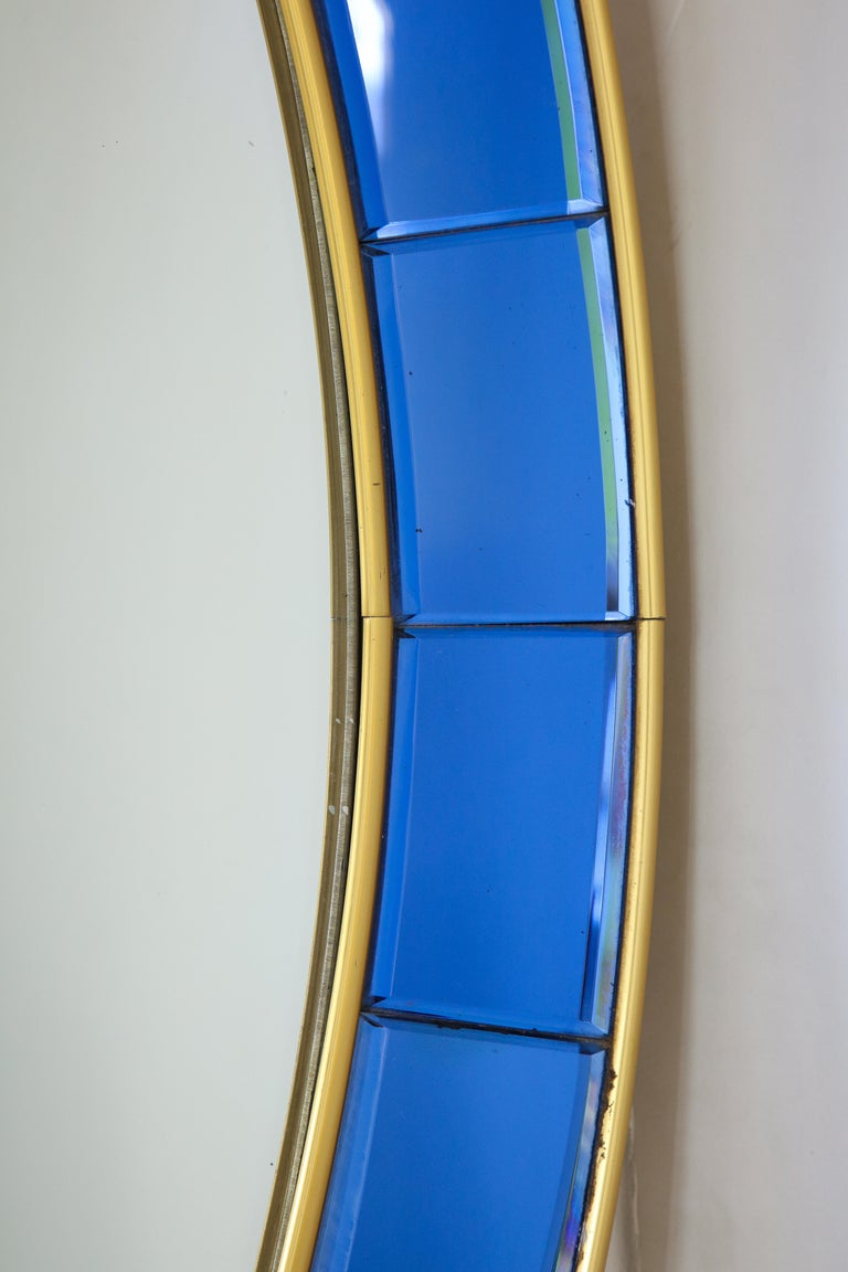 Italian Cristal Art Oval Blue Hand-Cut Faceted Glass Mirror For Sale