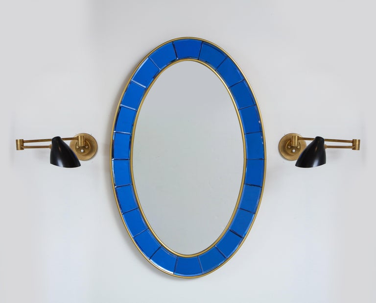 Cut Glass Cristal Art Oval Blue Hand-Cut Faceted Glass Mirror For Sale