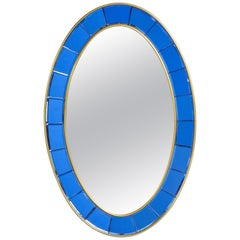 Cristal Art Oval Blue Hand-Cut Faceted Glass Mirror
