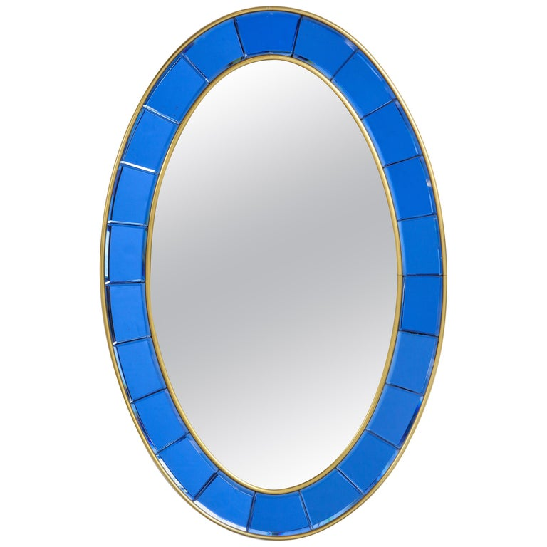Cristal Art Oval Blue Hand-Cut Faceted Glass Mirror For Sale