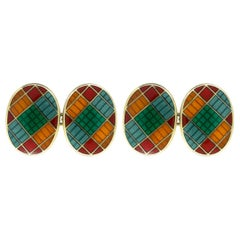 Oval Cufflinks in Patterned Colored Enamel over Silver Gilt, English Dated 1992