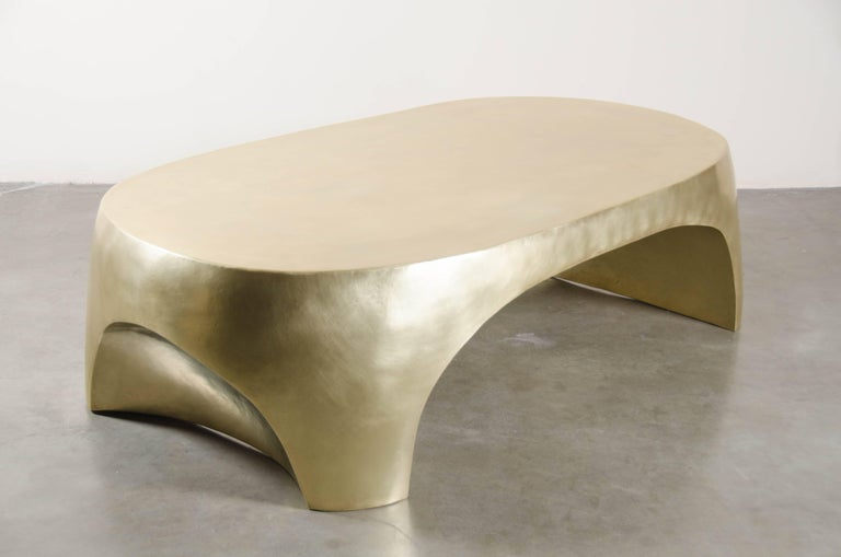 Contemporary Oval Curve Cocktail Table, Brass by Robert Kuo, Hand Repoussé, Limited Edition For Sale