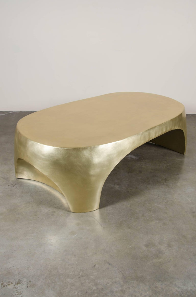 Oval Curve Cocktail Table, Brass by Robert Kuo, Hand Repoussé, Limited Edition For Sale 1