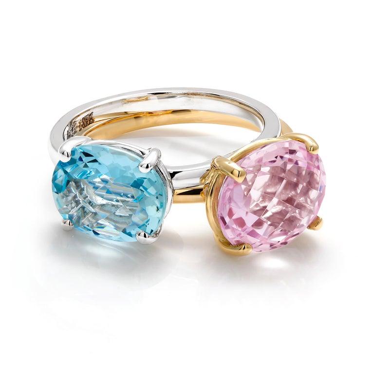 Oval Cut Cushion Kunzite Set in 18 Karat Yellow Gold Fashion Ring For Sale