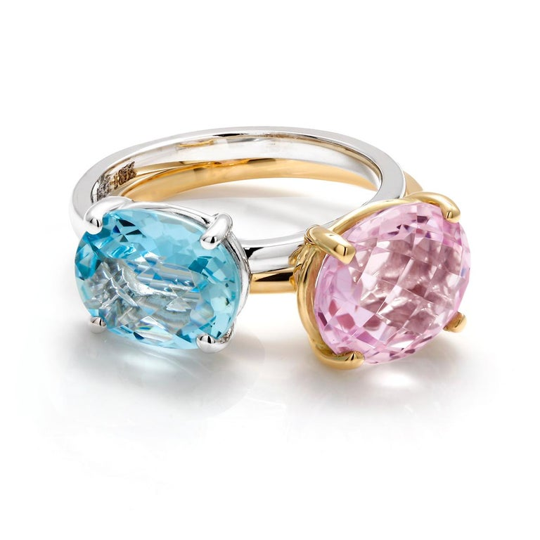 Cushion Kunzite Set in 18 Karat Yellow Gold Fashion Ring For Sale 2