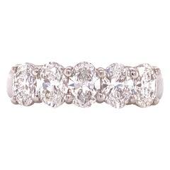 Oval Cut 5 Diamond Platinum Wedding Band Ring