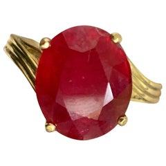 Oval Cut 7 Carat Treated Ruby 14 Karat Yellow Gold Ring,