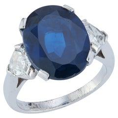Oval Cut AGL Certified Sapphire & Diamond Three Stone Ring
