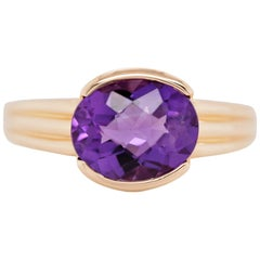 Oval Cut Amethyst 14 Karat Yellow Gold Fashion Ring