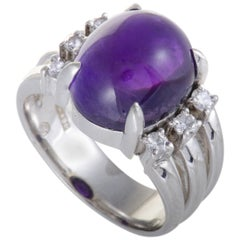 Oval Cut Amethyst and 0.30 Carat Diamond Platinum Cocktail Ring