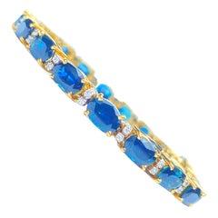 Oval-Cut Blue Sapphire and Diamond 18K Yellow Gold Bracelet